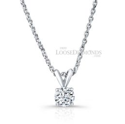 14k White Gold Classic Style Rabbit Ear Diamond Pendant