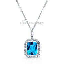 14k White Gold Modern Style Halo Diamond Aquamarine Pendant