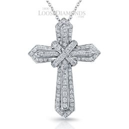 14k White Gold Art Deco Diamond Cross Pendant