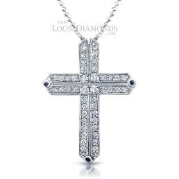 14k White Gold Modern Style Diamond Cross Pendant