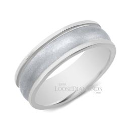 14k White Gold Men's 7mm Modern Style Two Tone Wedding Band
