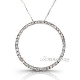 14k White Gold Geometric Style Halo Circle Diamond Pendant