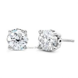 14k White Gold Round Diamond Studs