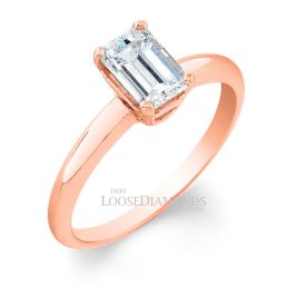 18k Rose Gold Classic Style Solitaire Engagement Ring