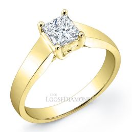 18k Yellow Gold Modern Style Tapered Solitaire Engagement Ring