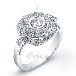 14k White Gold Vintage Art Deco Diamond Halo Engagement Ring