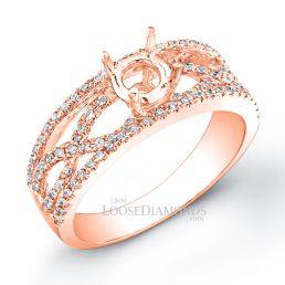 14k Rose Gold Modern Style Twisted Shank Diamond Engagement Ring