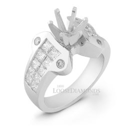 14k White Gold Modern Style Invisible Set Diamond Engagement Ring