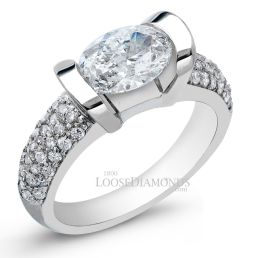 14k White Gold Modern Style Horizontal Set Diamond Engagement Ring