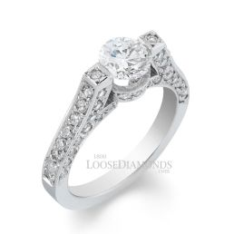 14k White Gold Modern Style 3 Row Diamond Engagement Ring