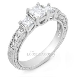 14k White Gold Vintage Style Engraved 3 Stone Diamond Engagement Ring