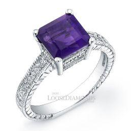 18k White Gold Vintage Style Engraved Diamond Engagement Ring