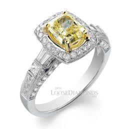 14k White Gold Vintage Art Deco Style Diamond Halo Engagement Ring