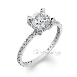 14k White Gold Vintage Style Diamond Engagement Ring