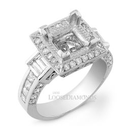 14k White Gold Vintage Art Deco Style Engraved Diamond Halo Engagement Ring