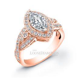 14k Rose Gold Vintage Style Engraved Marquise Shape Diamond Halo Engagement Ring