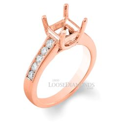 14k Rose Gold Classic Style Engraved Diamond Engagement Ring