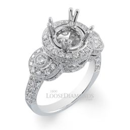 Platinum Vintage Style Engraved 3-Stone Diamond Halo Engagement Ring