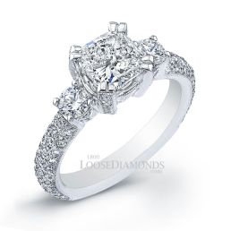14k White Gold Vintage Style Engraved 3-Stone Diamond Engagement Ring