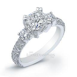 Platinum Vintage Style Engraved 3-Stone Diamond Engagement Ring