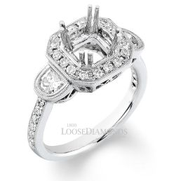 14k White Gold Vintage Cathedral Style 3-Stone Engraved Diamond Halo Engagement Ring