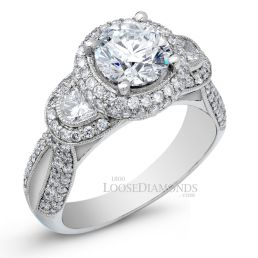 14k White Gold Vintage Style Engraved 3-Stone Half Moon Diamond Halo Engagement Ring