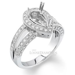 Platinum Modern Style Engraved Split Shank Diamond Halo Engagement Ring