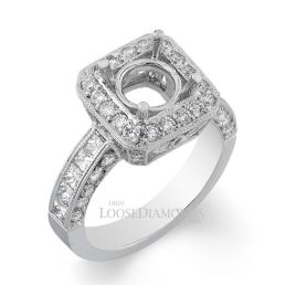 14k White Gold Modern Style Engraved Diamond Halo Engagement Ring