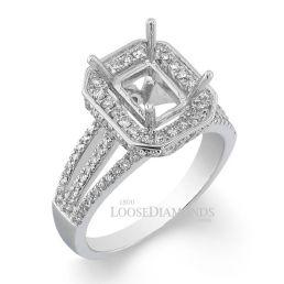 14k White Gold Modert Style Tri Split Shank Diamond Halo Engagement Ring