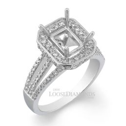 Platinum Modert Style Tri Split Shank Diamond Halo Engagement Ring