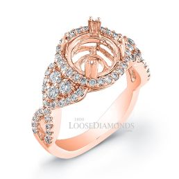 14k Rose Gold Modern Style Twisted Shank Diamond Halo Engagement Ring