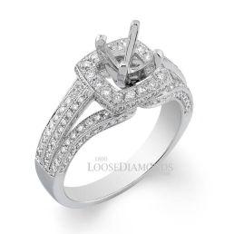 14k White Gold Vintage Style Split Shank Engraved Diamond Halo Engagement Ring