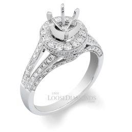 14k White Gold Modern Style Split Shank Engraved Diamond Halo Engagement Ring