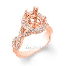 14k Rose Gold Vintage Style Twisted Shank Engraved Diamond Halo Engagement Ring