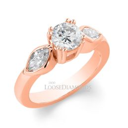14k Rose Gold Classic Style Rose Gold & Marquise Diamond Engagement Ring