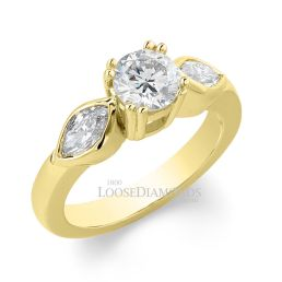 14k Yellow Gold Classic Style Rose Gold & Marquise Diamond Engagement Ring