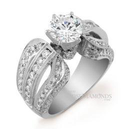 14k White Gold Vintage Style 2-Tone Gold Diamond Engagement Ring