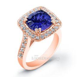 14k Rose Gold Vintage Style Halo Diamond Engagement Ring
