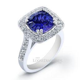14k White Gold Vintage Style Diamond Halo Tanzanite Cocktail Ring