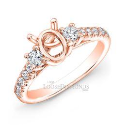 18k Rose Gold Classic Style Diamond Engagement Ring