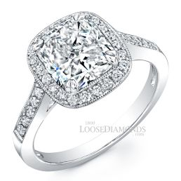 Platinum Modern Style Engraved Halo Engagement Ring