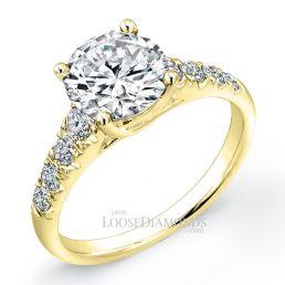 18k Yellow Gold Classic Style Diamond Engagement Ring