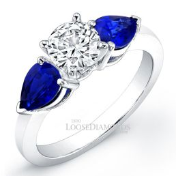 Platinum Classic Style 3-Stone Sapphire Engagement Ring