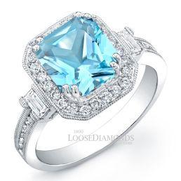 14k White Gold Modern Style Engraved Sky Blue Topaz Diamond Halo Cocktail Ring
