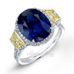 14k White Gold Modern Style 3-Stone Trapezoid Diamond Halo Engagement Ring