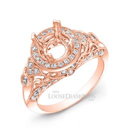 14k Rose Gold Vintage Style Diamond Engagement Ring