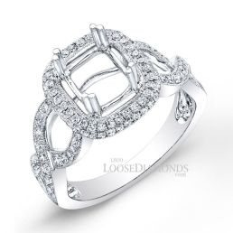 14k White Gold Modern Style Engraved Twisted Shank Diamond Halo Engagement Ring