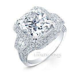 14k White Gold Vintage Style Hand Engraved Diamond Halo Engagement Ring
