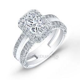 Platinum Modern Style Split Shank Diamond Halo Engagement Ring