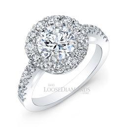 14k White Gold Modern Style Diamod Halo Engagement Ring